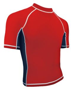 RISE Solid Short Sleeve Splice Rashguard - Color - Red/Navy,Size - Small