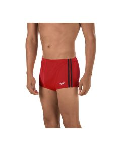 Speedo Solid Poly Mesh Square Leg - Color - Red/Black,Size - 40