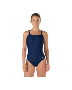 Speedo Solid Flyback Swimsuit - Color - Navy,Size - 26