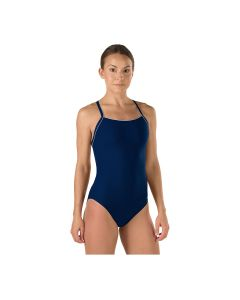 Speedo Solid Endurance + Thin Strap Swimsuit - Color - Navy,Size - 26