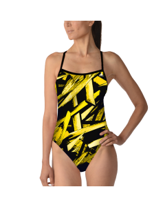 Adidas Code of Tribe Open Back Swimsuit-Black/Yellow-18